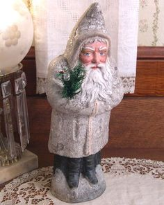 Superb Large Early Antique Belsnickle Santa Candy Container, Germany Late 1800s  Authentic Christmas Figure with Feather Tree, Marked