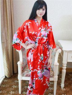b509d158fc Plus Size Fashion Ladies Summer Kimono Long Bath Robe Gown Black Chinese  Women s Rayon Yukata Nightgown