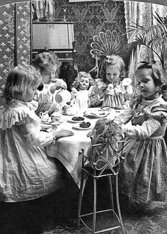 TEA PARTY, c1902 Greeting Card by Granger (love the details such as curly cane doll chair)