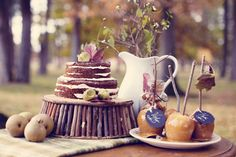 Wedding Naked Pumpkin Cake // Fall Table Decor Inspiration // Autumn Place settings // Caramel Apples // Dana Muchow Styling & Design + @atticrentals