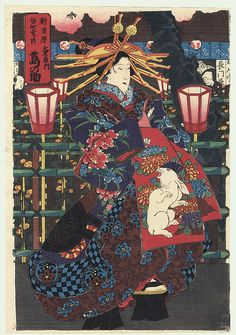 Courtesan in the Yoshiwara by 19th century artist (unsigned)