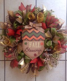 """""""Fall Blessings"""" sage green deco mesh wreath with Acorn"""