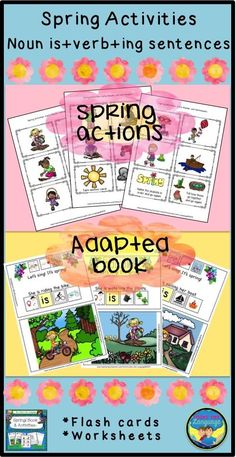 Interactive adapted book to build spring vocabulary for actions in sentences. Practice pronouns, noun+is+verb+ing with worksheets and game cards. $
