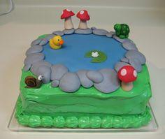 Pond Birthday Cake with Animals & Mushrooms - Duck, Snail, Turtle