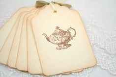 Teapot Tags  Tea Party Favor Tags  Vintage by seasonaldelights, $6.50