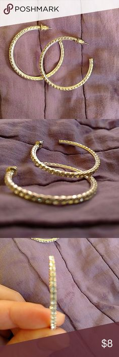 Silver hoops Silver hoops with diamond looking detail Jewelry Earrings