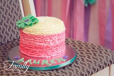little girls 1st birthday cake smash | cake ideas | pink white and seafoam green | WhenPigsFlyPastries.com
