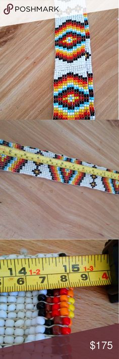 Vintage Native American belt 100% authentic beaded elastic belt handji and will stretch. This is not some light hollow beaded belt! Will consider offers. There are others listed online for 300 dollars and up. Bonnie's boutique Accessories Belts