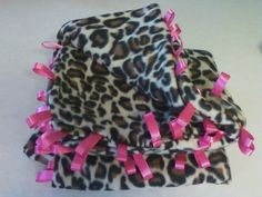 taggie blanket, cheetah with hot pink ribbons