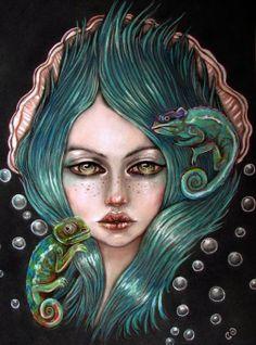 Karma Chameleon Original pop surreal soft pastel by MoonSpiralart, $400.00