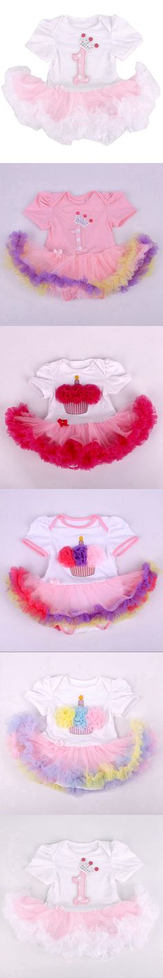 1st Birthday Crown Applique Infant Party Dress Tutus Baby Rompers Macacao Bebe Roupa Infantil Newborn Baby Girl Romper Clothing