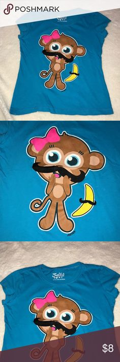 Girls mustache monkey Justice shirt Justice mustache monkey shirt, good condition Justice Shirts & Tops Tees - Short Sleeve