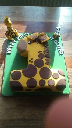 Giraffe first birthday cake.