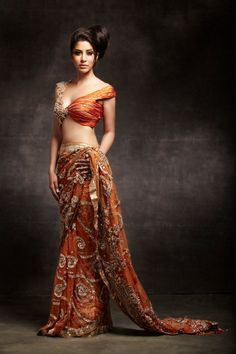 Sophie Chaudry in Gota Crystal Sari from Manav Gangwani's latest collection called A Timeless Affaire. India Fashion, Asian Fashion, Gq Fashion, Bridal Fashion, Indian Dresses, Indian Outfits, Collection Eid, Orange Saree, Beauty And Fashion