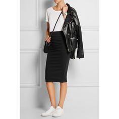 McQ Alexander McQueen Stretch-jersey pencil skirt (€275) via Polyvore