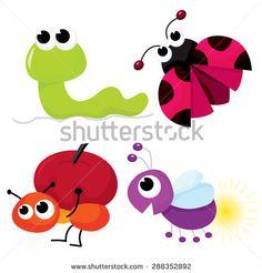 Cute cartoon little bugs like worm, ladybug, ant and firefly vector illustration.