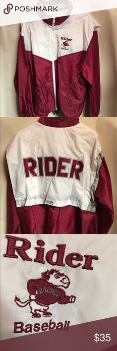 Vintage Rider University Baseball Windbreaker Gently worn Vintage Rider  University Baseball Team Issued Full Zip Men s 86f0361bf68c5