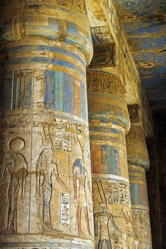 *TEMPLE OF RAMSES III: Luxor, Egypt.Painted sunken relief carving adorns columns in the mortuary temple of Ramses III on the West bank of the Nile at Luxor. Ancient Ruins, Ancient Egyptian Art, Ancient Artifacts, Ancient History, Egyptian Temple, Mayan Ruins, Ancient Greek, Luxor Temple, Architecture Antique