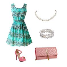 Wear this turquoise sundress for a night out with pink cross strap high heels, a light pink quilt pattern clutch purse, and matching pearl necklace & bracelet!