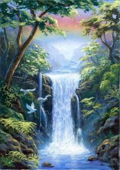 ACEO ORIGINAL PAINTING LANDSCAPE WATERFALL RAINBOW BIRDS DOVES TREES FANTASY #Realism