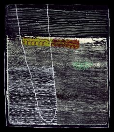 Dorothy Caldwell, Fjord, 2011, wax resist and silkscreen discharge on cotton with stitching and appliqué