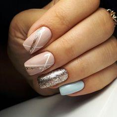 Nagellack Design, Nagellack Trends, Stylish Nails, Trendy Nails, Hair And Nails, My Nails, Nail Striping Tape, Perfect Nails, Blue Nails