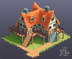 Isometric pixel art inn house by RGBfumes bitmap architecture game user…