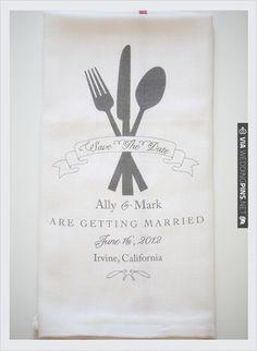 save the date dish towel   VIA #WEDDINGPINS.NET