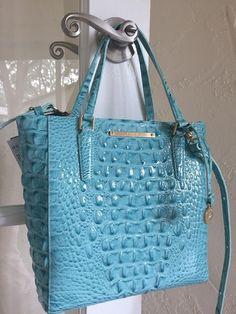 e5269d75d7 Brahmin Harrison Carryall Tote Crossbody Aqua Glass Glossy Melbourne Leather