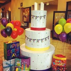 7ft tall birthday cake for foster kids!