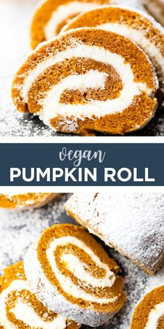 Vegan Dessert Recipes, Vegan Sweets, Vegan Snacks, Cupcake Recipes, Vegan Food, Pumpkin Roll Cake, Pumpkin Pie Mix, Vegan Pumpkin, Pumpkin Recipes