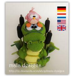 Häkelanleitungen - Krokodil & Vögelchen, crocodile, Häkelanlei... - ein Designerstück von Mala-Designs bei DaWanda