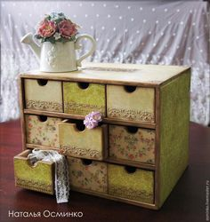Master class: decor, and aging of the chest Workshop - Fair Masters - handmade, handmade Decoupage Drawers, Decoupage Furniture, Decoupage Vintage, Hand Painted Furniture, My Furniture, Wooden Projects, Wooden Crafts, Diy And Crafts, Craft Projects