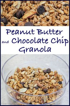 Peanut Butter Chocolate Chip Granola--salty, sweet, and addictive for eating out of hand! Healthy with nuts and whole grains also!