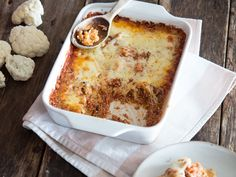 Überbackener Blumenkohl-Quinoa-Auflauf mit Mozzarella