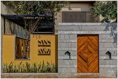 Design Studio With Interactive And Interconnected Spaces | SANS Architect & KARVI Design Studio - The Architects Diary Gate Design, Door Design, Vertical Green Wall, Compound Wall, Metal Facade, Landscape Elements, Entrance Gates, Showcase Design, Stone Flooring