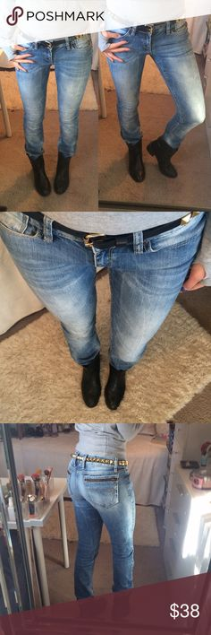 Distressed Jeans  Like Brand New, in great condition. Really great material. Says waist 28 and length 32 inches, true to it. Total lengths side waist to bottom approximately 39.5 inches. I'm an ass or size 4 and they fit me perfectly. Low-cut, straight leg. Small, White dot below the left knee as shown on the last picture, it is not a stain but part of the jeans make. German brand. *Belt not available. Soccx Denim Jeans