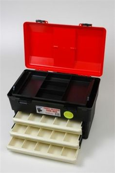 Tool Box with Lifout Tray & 3 Draws Material - Co-Polymer (Handle & Clips ABS) Hospital grade material Bacterial & Chemical free : Size - 460mmW x 300mmD x 280mmH Code - 1H-128