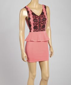 This Lovposh Coral Lace Peplum Dress by Lovposh is perfect! #zulilyfinds