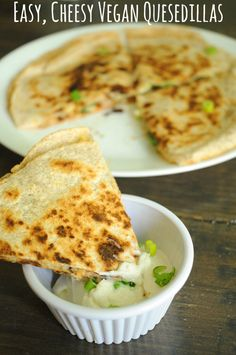 Easy Cheesy Vegan Quesadillas - These are some of the most delicious quesedillas I've ever had. And I've eaten a LOT of quesedillas!