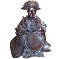 Bronze Japanes Geisha    c. 1900  Highly detailed bronze of a female Japanese musician playing a percussion instrument. Percussion Instrument, Asian Artwork, Geisha, Lion Sculpture, Bronze, Japanese, Statue, Female, Inspiration