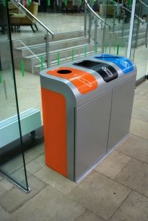 The Lute Stream modular recycling unit adds a visual dimension to the art of collecting waste.  With its curved top section and aperture plates, waste streams can be identified as the unit is approached, therefore minimising the mixing of recyclables.