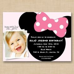 bow polka dot birthday food party theme birthday Minnie Mouse disney invitations pink bow girly clubhouse mickey party toddler kid baby disney