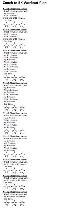 Couch to 5K workout plan. I re-wrote this and added stars. You do each workout 3 times a week,whatever week you are on. I will color in a star indicating how I feel after each workout.     Red- Could not finish workout   Yellow- finished, but miserable.   Green- Finished, feel great!     Once I am done, I am hoping to have all green stars on week 8 & 9 :)