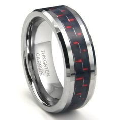 Stainless Steel Polished 8mm Black IP-plated Grey Carbon Fiber Inlay Band Size 9 Length Width 8