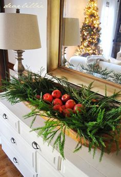 2013 Christmas House Tour by Dear Lillie- Great idea for centerpiece throw in some pine cones