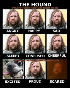The multiple expressions and emotions of The Hound.  #GOT  #GameofThrones