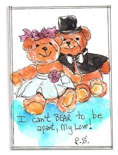 ACEO Two Loving Bears in Costume Illustration Valentine Painting Penny StewArt #IllustrationArt www.pennyleestewart.com