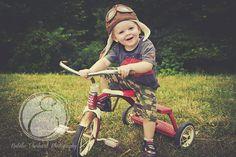 Tricycle 2 year old boy birthday photo radio flyer pilot hat