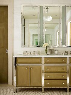 NYC bath by Steven Gambrel. The sinks console is unusual to me